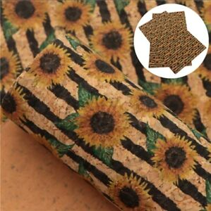 """Sunflower Floral FAUX LEATHER SHEET 8x12"""" WHOLESALE PRINTED 1106892 faux cork"""