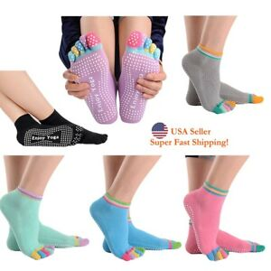 DH 5-Toe Rainbow Grip Socks for Yoga Pilates Barre Dance Non Slip Non Skid Socks
