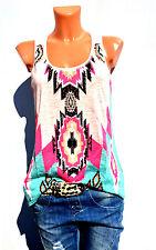 Damen Top Sommer ärmellos Tanktop Tunika T-shirt Bluse Oversize Bunt Pastell