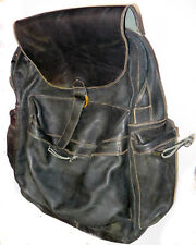 VINTAGE STRONG WELL MADE THICK SUPPLE LEATHER BLACK USED BACK PACK BAG THAILAND