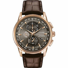 Citizen Men's 43mm Calfskin Band Rose Gold Plated Case Quartz Watch At8113-04h