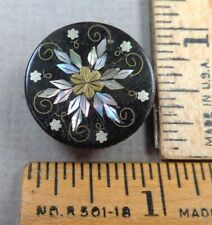 FLOWER Antique BUTTON, Dyed Horn w/ Brass, Silver & Pearl Inlay, 1800s