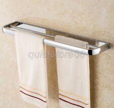 Modern Chrome Double Towel Rail Bars Wall Mounted Bathroom Accessory qba832