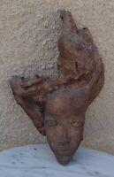 Vintage - Sculpture visage autochtone Amazonie - Bois Cuir Argile Or - années 60
