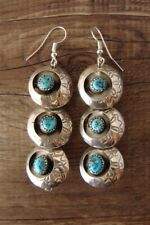 Navajo Sterling Silver Shadowbox Turquoise Dangle Earrings!