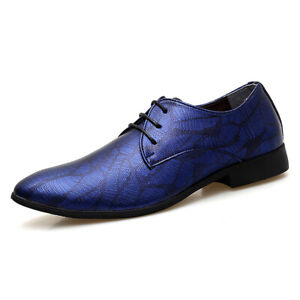 Mens Pointy Toe Casual Dress Formal Shiny Nightclub Lace Up Party Leather Shoes