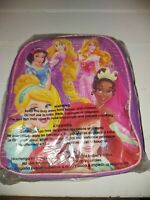 Disney Princess Pink Insulated School Lunch Bag Box Cinderella Belle Ariel NEW
