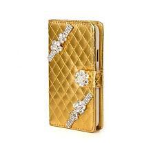 Strass Book Handy Tasche Schutz Hülle HTC One M7 Flip Cover Case Etui Gold K910