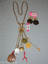 Betsey Johnson Wood, Coral, Bow Charm Statement Necklace & Earring Set New + Tag
