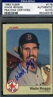 Wade Boggs (r) Signed Psa/dna 1983 Fleer Autograph Authentic