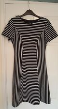 Size 8 Black & White Striped Dress from F&F Fully Lined