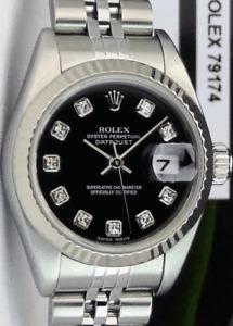 ROLEX - Ladies 18kt White Gold & SS DateJust Black Diamond - 79174 SANT BLANC