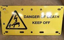 Large vintage enamel sign danger of death keep off Interior Design Shop Display