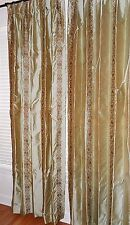 """Silk drapes embroidered fabric brown on olive green pleated top 96"""" long PAIR"""