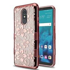 For LG Stylo 4 / Stylo 4 Plus Rose Gold Flower Silver Glitter Tuff CASE COVER