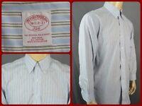 Brooks Brothers 346 Blue Striped L/S Btn Front Dress Shirt Mens Lg Office Wear