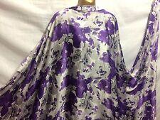 *NEW* Smooth Liquid Satin Purple/Grey/ White Floral Print Fabric*FREE POSTAGE*