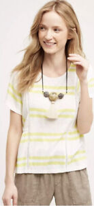 NWT Anthropologie *9-H15 STCL* Yellow Hitch Stripe Shirt Top Large L $68