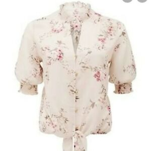 FOREVER NEW Size 6 8 Pale Pink Melinda Floral Tie Front Shirred Blouse
