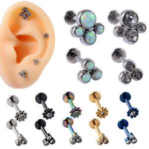 TRINITY CLUSTER OPAL Labret Helix Cartilage Conch Earring Bar Stud Lip Tragus