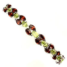 Gorgeous Marquise 6x3mm Peridot Mozambique Garnet 925 Sterling Silver Bracelet