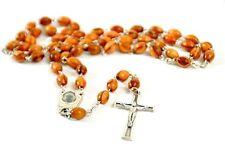 Olive Wood Catholic Rosary with Holy Land Soil