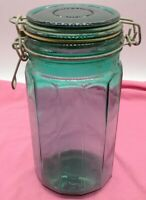 """Vintage Canister Jar Wire Bale Emerald blue green Paneled Glass 8"""" Spaghetti"""