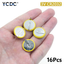 Battery CR2032 3V 2 Tabs Coin Cell For Main Board Toy Electronic Scale 16Pcs 20