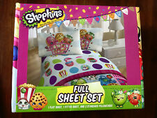 NEW SHOPKINS FULL 4 PIECE FULL SHEET SET FLAT, FITTED AND 2 PILLOWCASES