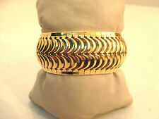 "14k Yellow Gold Flexible Bangle Bracelet 33.1g 1 1/8"" wide Fits 8"" Wrist"