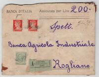 STORIA POSTALE 1929 REGNO C. 5 + 1,75 (X2) SU ASSICURATA COSENZA 20/12 Z/1973