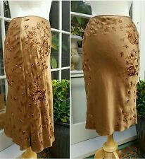 ALBERTA FERRETTI Women Skirt Toffee Silk Embroidered Beaded Sequined 38 / 4 $250