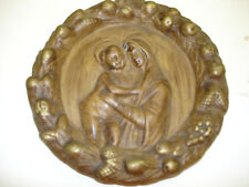Old Giant Pottery Picture Plaque Of  Mother & Child Made in Italy 1364 / 505