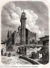 Lucca: Castello di Nozzano. Capolavoro.Toscana.Stampa Antica + Passepartout.1868