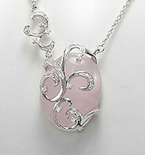 """17.5-19"""" Solid Sterling Silver Antique Style Rose Quartz Necklace 26mm LUXURY"""