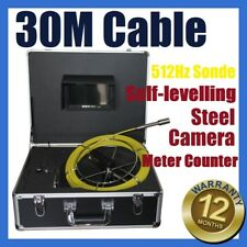 30M Sewer Drain Pipe Self-levelling Camera w 512HZ Locator Sonde Meter Counter