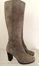 MILANA Latte Leather Knee High Boots Heels 36 #17925