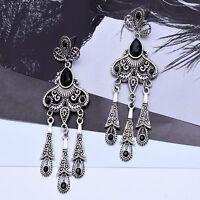 Long Tassel Dangle Earrings Black Diamond Ear Stud Bohemia Water Drops Earring