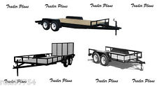 (3 Sets) Plans For 8x18 Car Trailer, 7x14 and 8x10 Utility Trailers. Tandem Axle