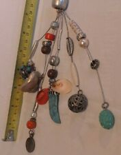 """""""Rh"""" - As Pics - Lot Gx749 Vintage cosmetic necklace, charms and beads stamped"""