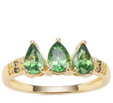 Tsavorite Garnet V Rare Trilogy & Green Diamond 9K Yellow Gold Ring Size N-O/7