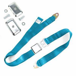 2pt Electric Blue Airplane Buckle Lap Seat Belt w/ Flat Plate Hardware SafTboy