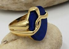 Oval Lapis Lazuli Ring In 18kt Yellow Gold  Size 6 US