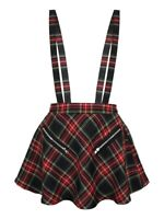 Banned Mini Skirt High Life Tartan Pinafore Women's Black
