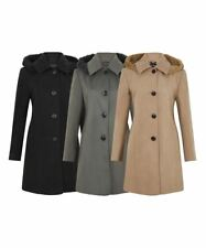 De La Creme - Womens Wool Feel Jacket Ladies Faux Fur Trim Hooded Coat