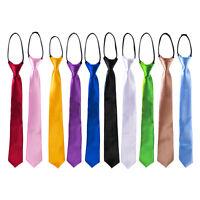 Fashion Men's Skinny Solid Zipper Slim Narrow Necktie Tie Party Business Wedding