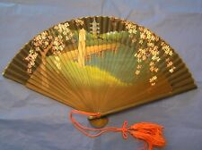 3pt8 VINTAGE HAND FAN MADE IN JAPAN HAND PAINTED BAMBOO TRANQUIL JAPAN SCENE