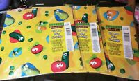 6 sheets Hallmark 1999 Veggie Tales Gift Wrap Wrapping Paper 3 new pkgs