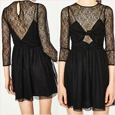 SALE Black Lace Long Sleeve Open Back Skater Mini Dress Size S 8 US 4 Blogger  ❤