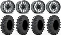 "Raceline Trophy 14"" Grey Wheels 28"" Outback Max Tires Can-Am Maverick X3"